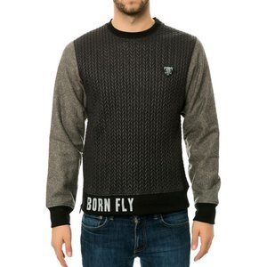 Born Fly Quilted Nylon sweatshirt with Wool sleeve